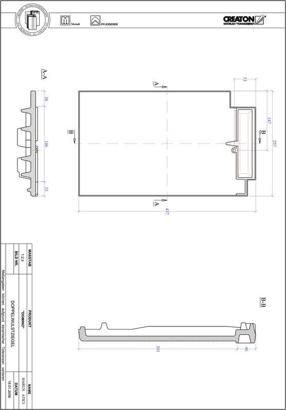 Plik CAD produktu DOMINO dachówka dwufalowa DWZ