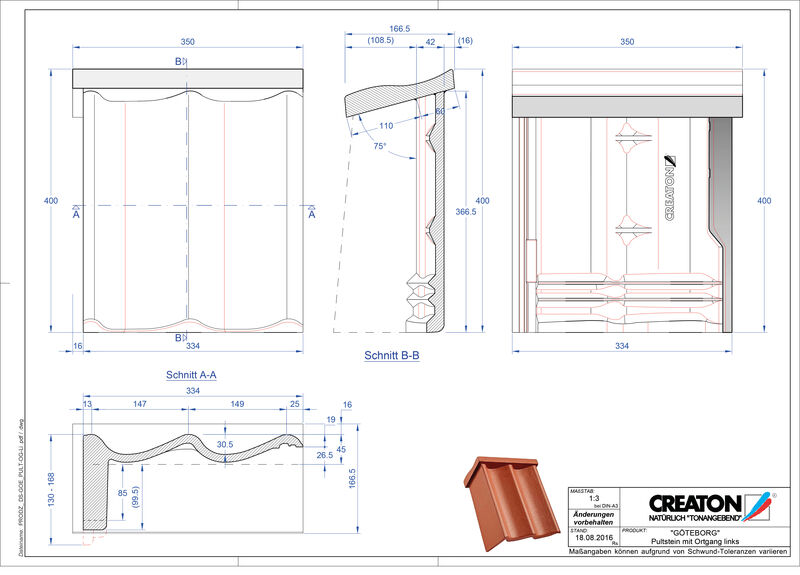 Plik CAD produktu GÖTEBORG dachówka pulpitowa boczna lewa PultOGL