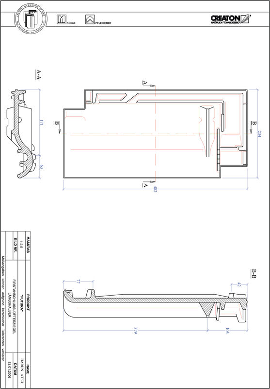 Plik CAD produktu FUTURA dachówka kalenicowa wentylacyjna połówkowa FALLH