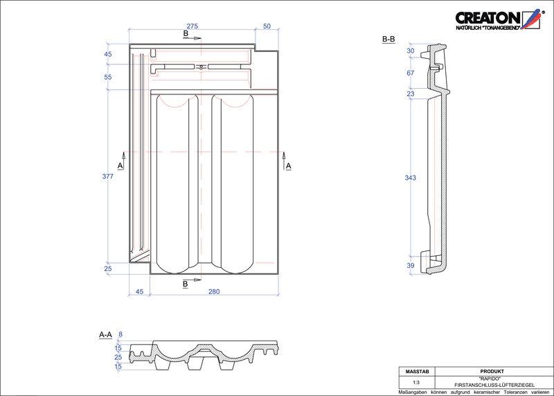 Plik CAD produktu RAPIDO dachówka kalenicowa wentylacyjna FALZ