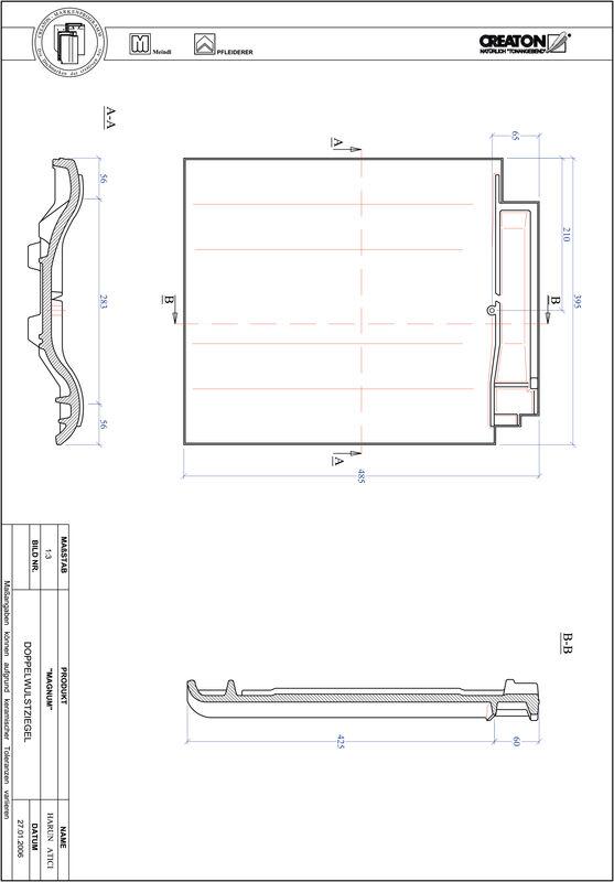 Plik CAD produktu MAGNUM dachówka dwufalowa DWZ