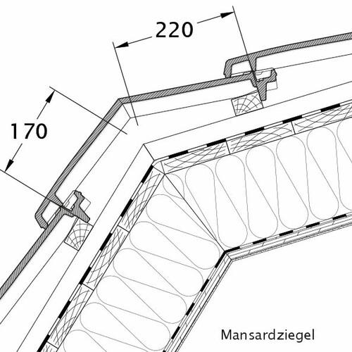 Rysunek techniczny produktu VISIO dachówka mansardowa MAZ