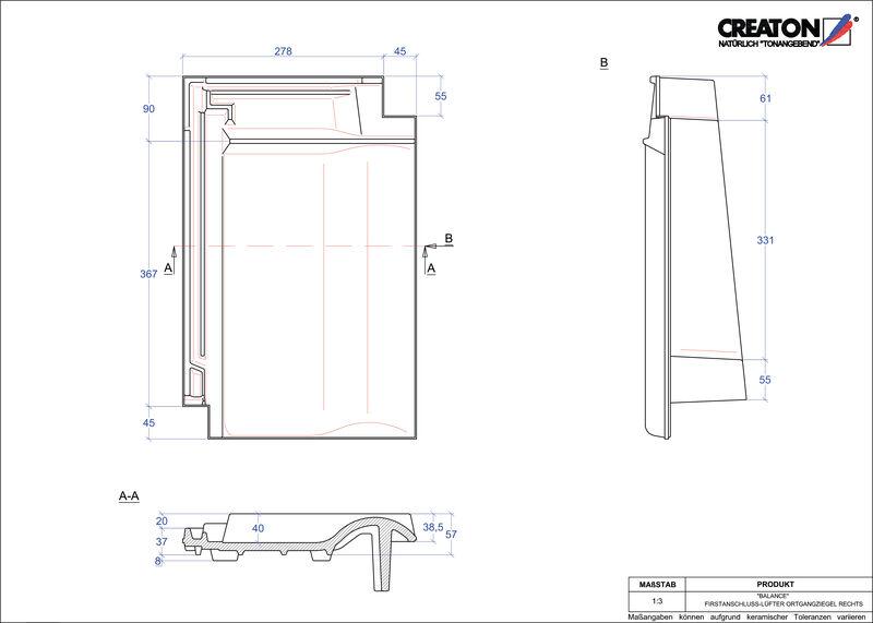 Plik CAD produktu BALANCE dachówka kalenicowa wentylacyjna boczna prawa FALOGR