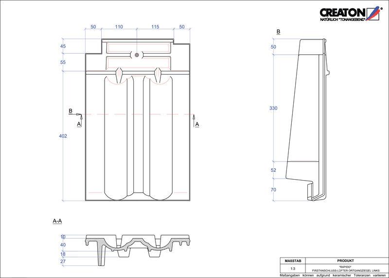 Plik CAD produktu RAPIDO dachówka kalenicowa wentylacyjna boczna lewa FALOGL