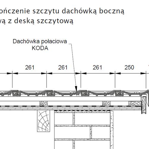 Rysunek techniczny - Wykończenie szczytu dachówką boczną prawą z deską szczytową