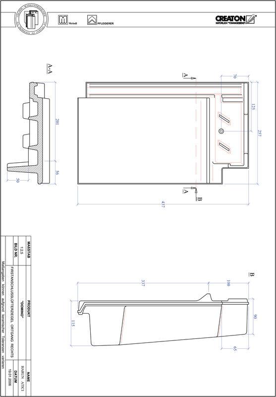 Plik CAD produktu DOMINO dachówka kalenicowa wentylacyjna boczna prawa FALOGR