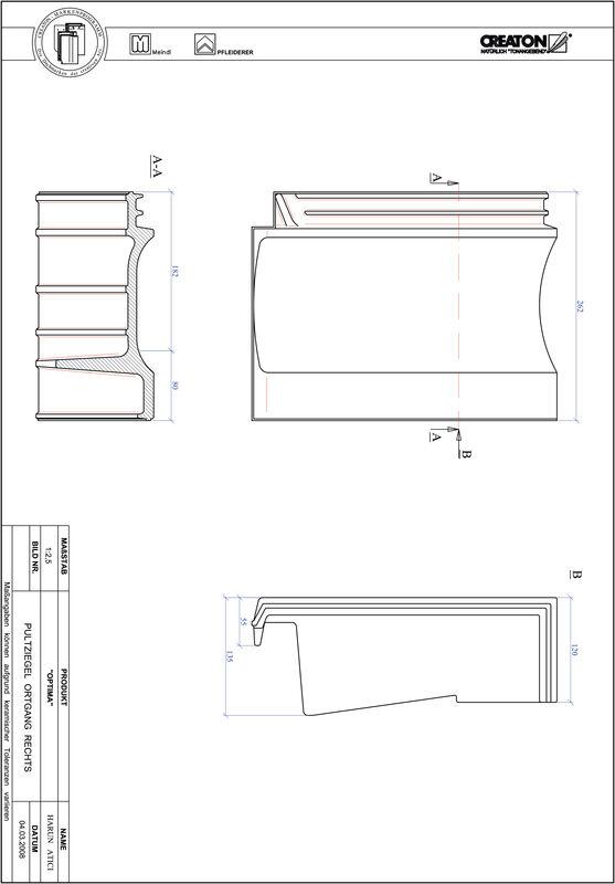 Plik CAD produktu TERRA OPTIMA dachówka pulpitowa boczna prawa PULTOGR