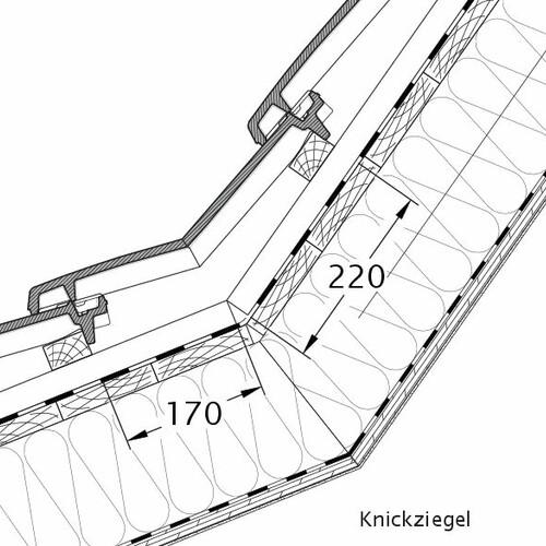 Rysunek techniczny produktu VISIO dachówka łamana KNZ