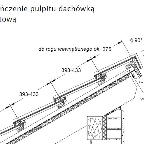 Rysunek techniczny - Wykończenie pulpitu dachówką pulpitową