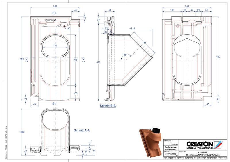 Plik CAD produktu CANTUS dachówka przelotowa do kominów gazowych THERME