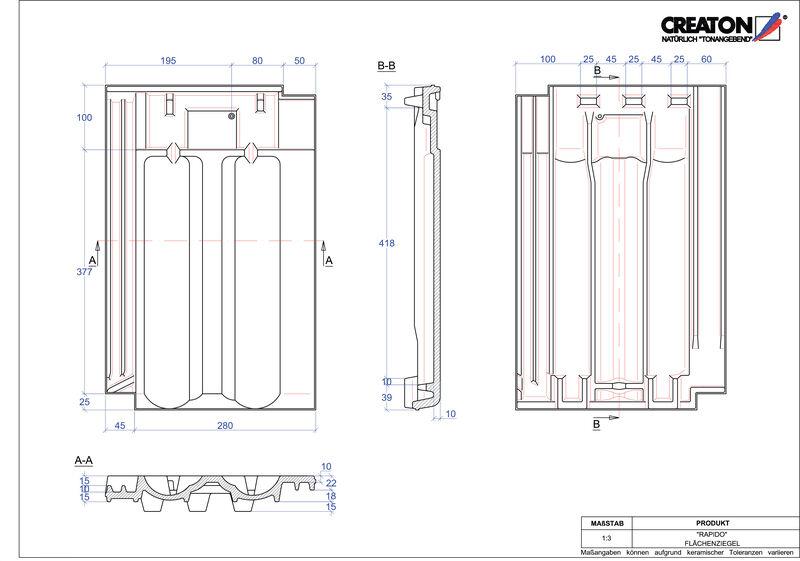 Plik CAD produktu RAPIDO dachówka połaciowa FLA