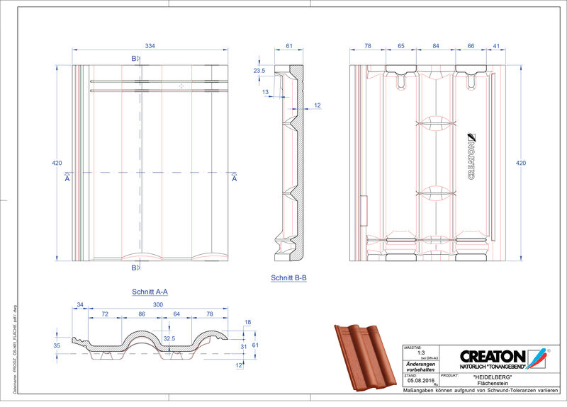 Plik CAD produktu HEIDELBERG dachówka połaciowa Faechenstein