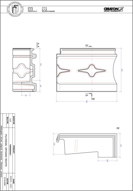 Plik CAD produktu HERZZIEGEL dachówka pulpitowa boczna prawa PULTOGR