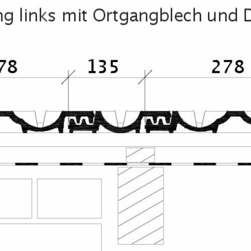 Rysunek techniczny produktu RAPIDO OG dachówka boczna lewa z blachą i dachówka dwufalowa ODL
