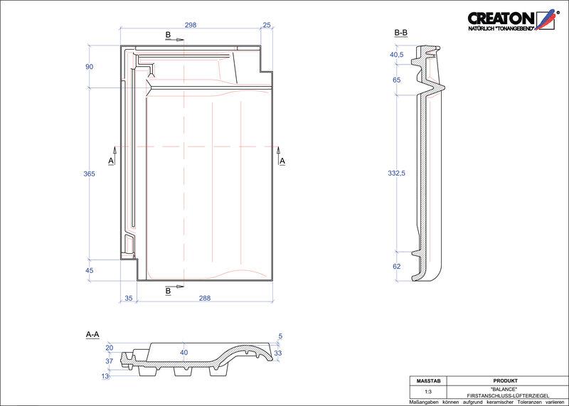 Plik CAD produktu BALANCE dachówka kalenicowa wentylacyjna FALZ